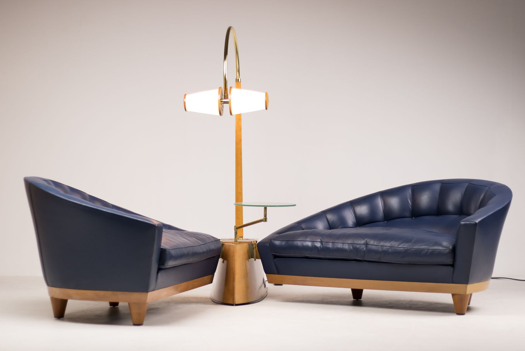 Vintage Blue Leather Aladino Living Room Set By Massimo Scolari For Giorgetti For Sale At Pamono