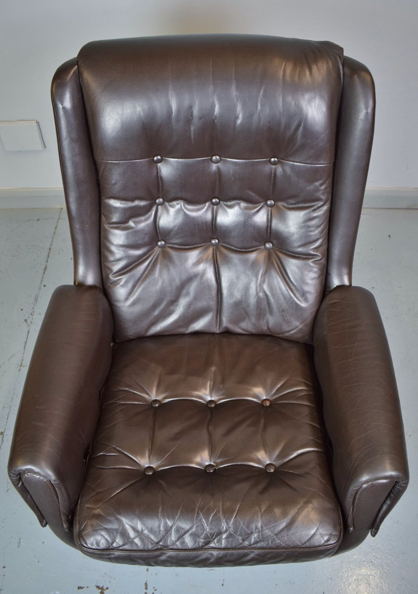 Vintage Danish Brown Leather Swivel Chair