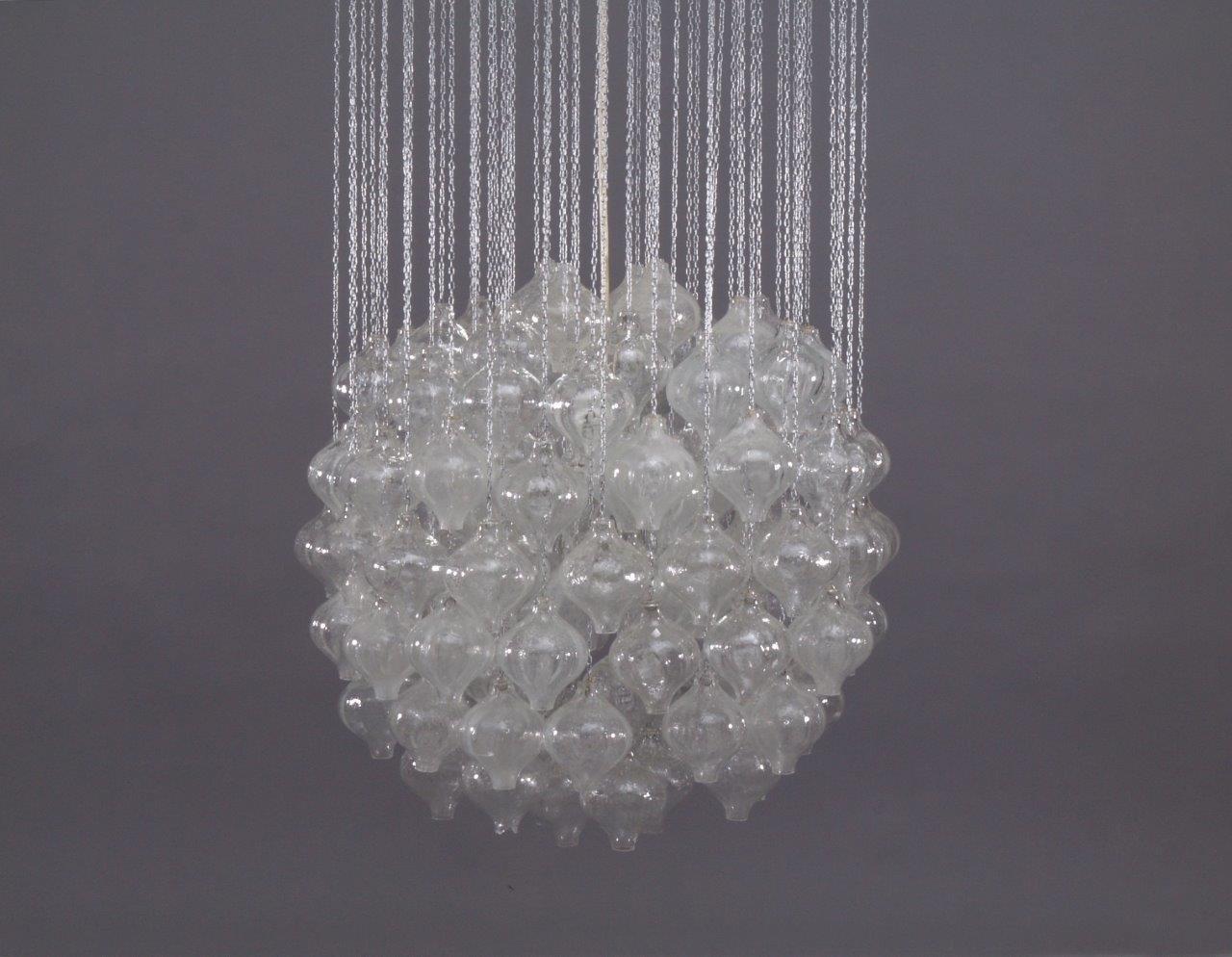 Vintage Tulipan Glass Pendant Chandelier By JT Kalmar