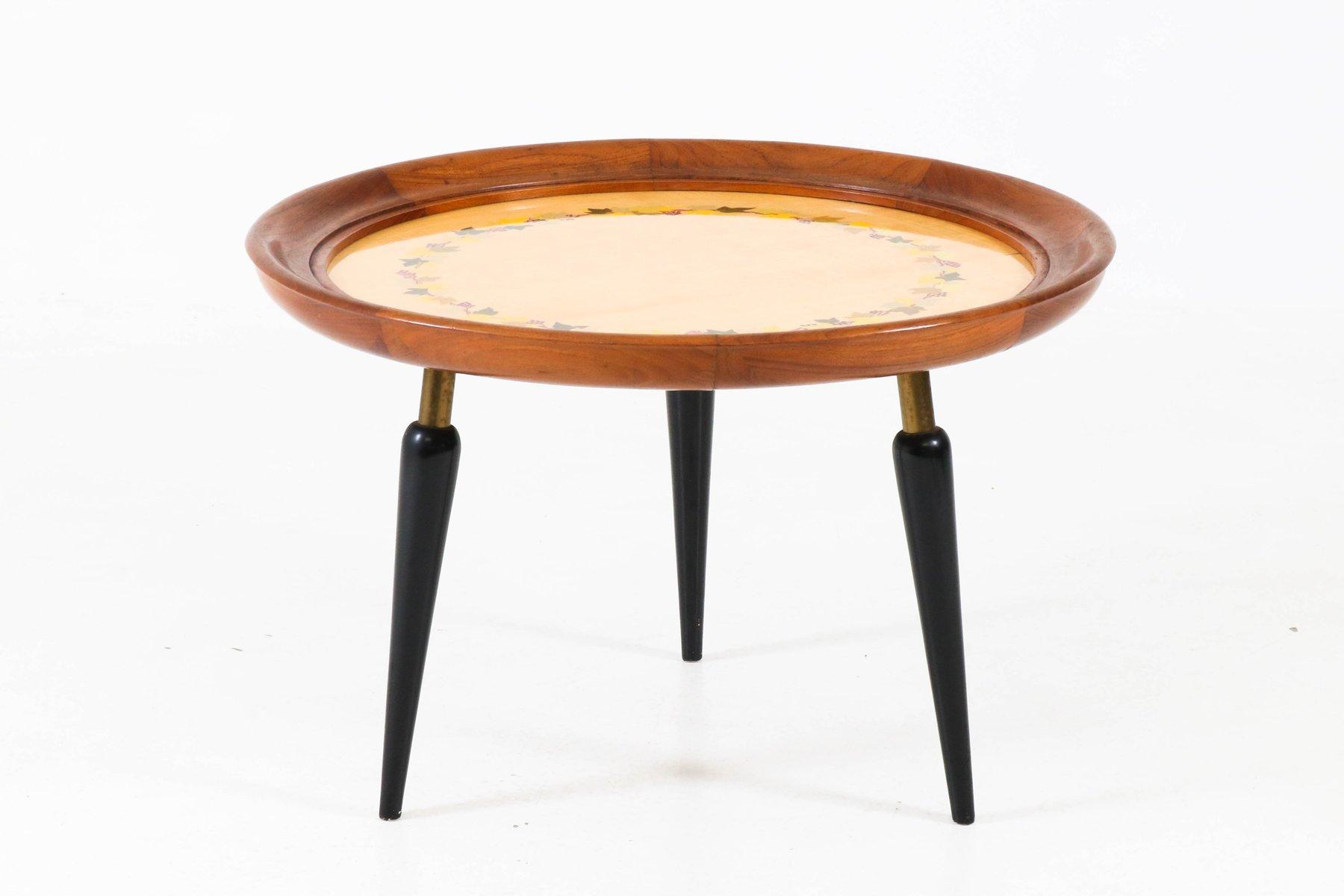 italian mid century modern fruitwood coffee table with inlay
