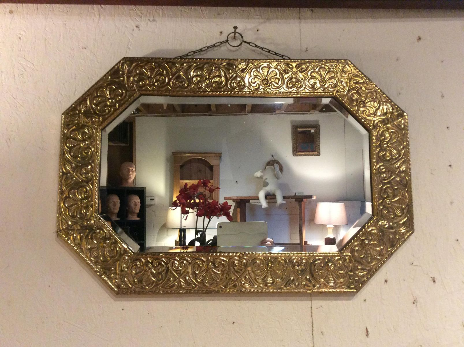 Antique arts and crafts brass wall mirror 1910s for sale for Arts and crafts for sale