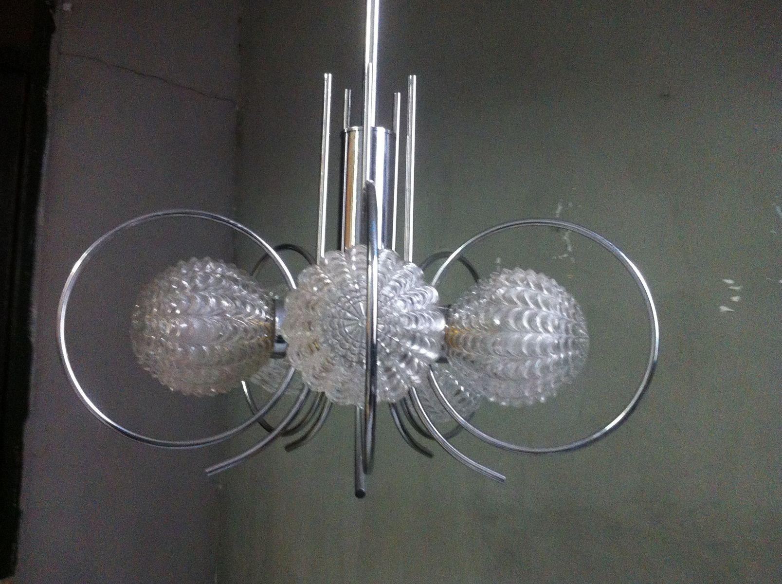 space age deckenlampe aus chrom geometrischem glas 1970er bei pamono kaufen. Black Bedroom Furniture Sets. Home Design Ideas