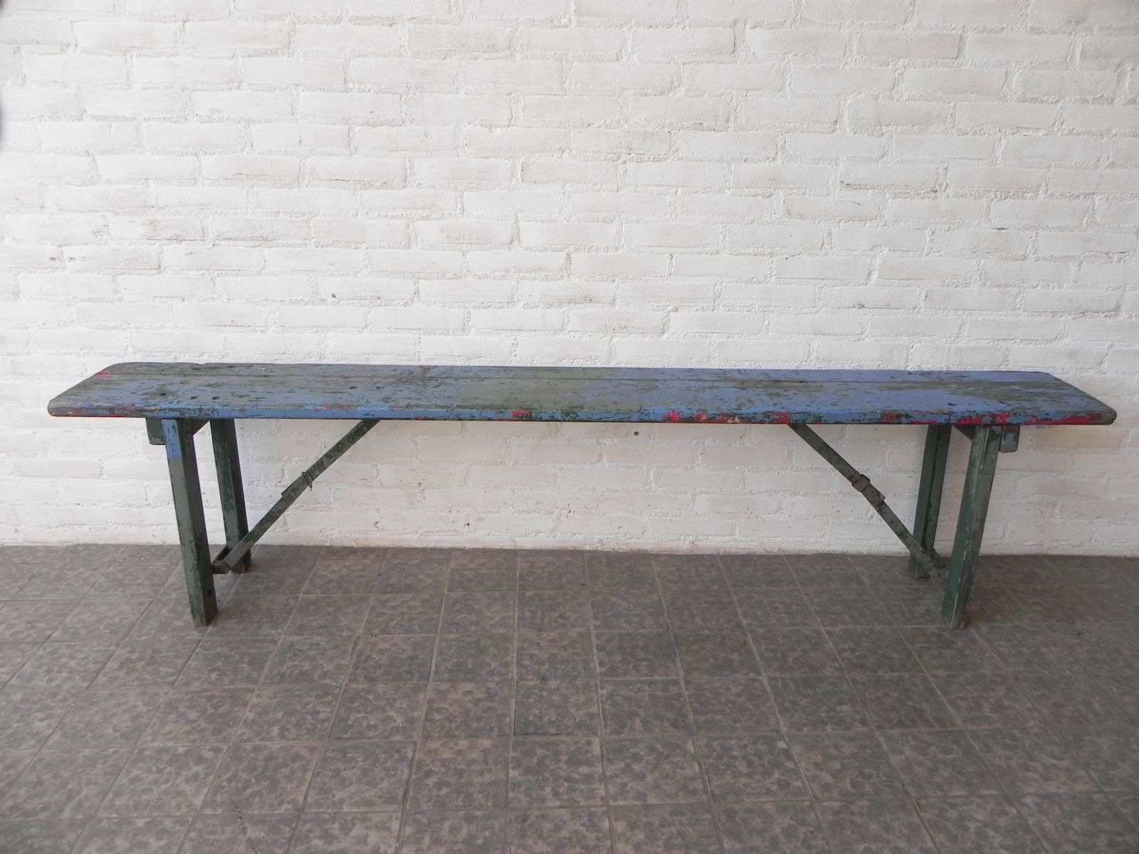 Long French Wooden Bench 1950s For Sale At Pamono