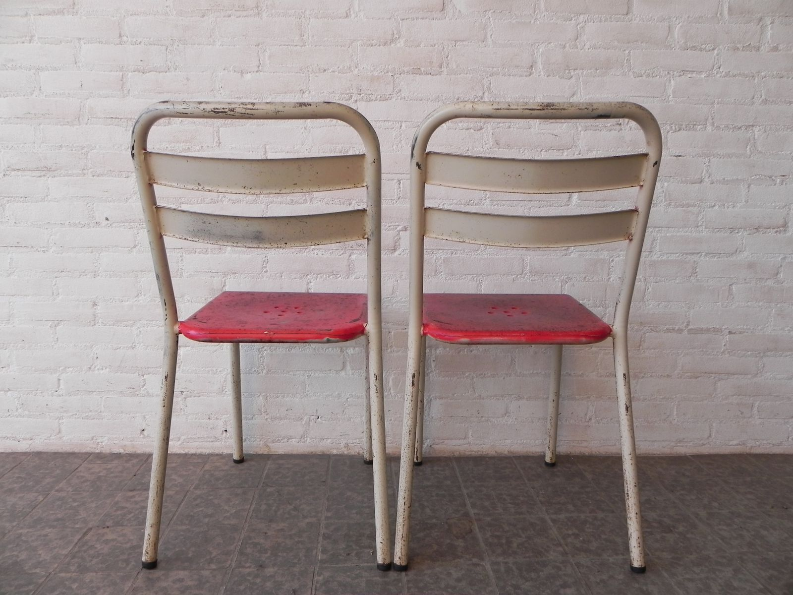 Steel Industrial Cafe Chairs 1950s Set of 2 for sale at Pamono