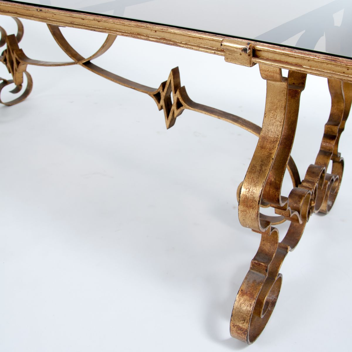 French brass coffee table with glass top 1970s for sale for French glass coffee table