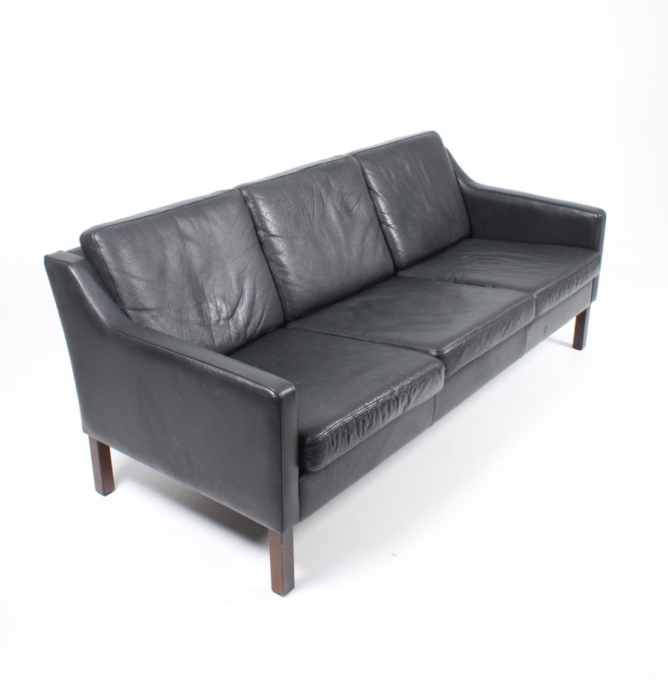 Vintage Danish 3 Seater Black Leather Sofa 1980s for sale at Pamono