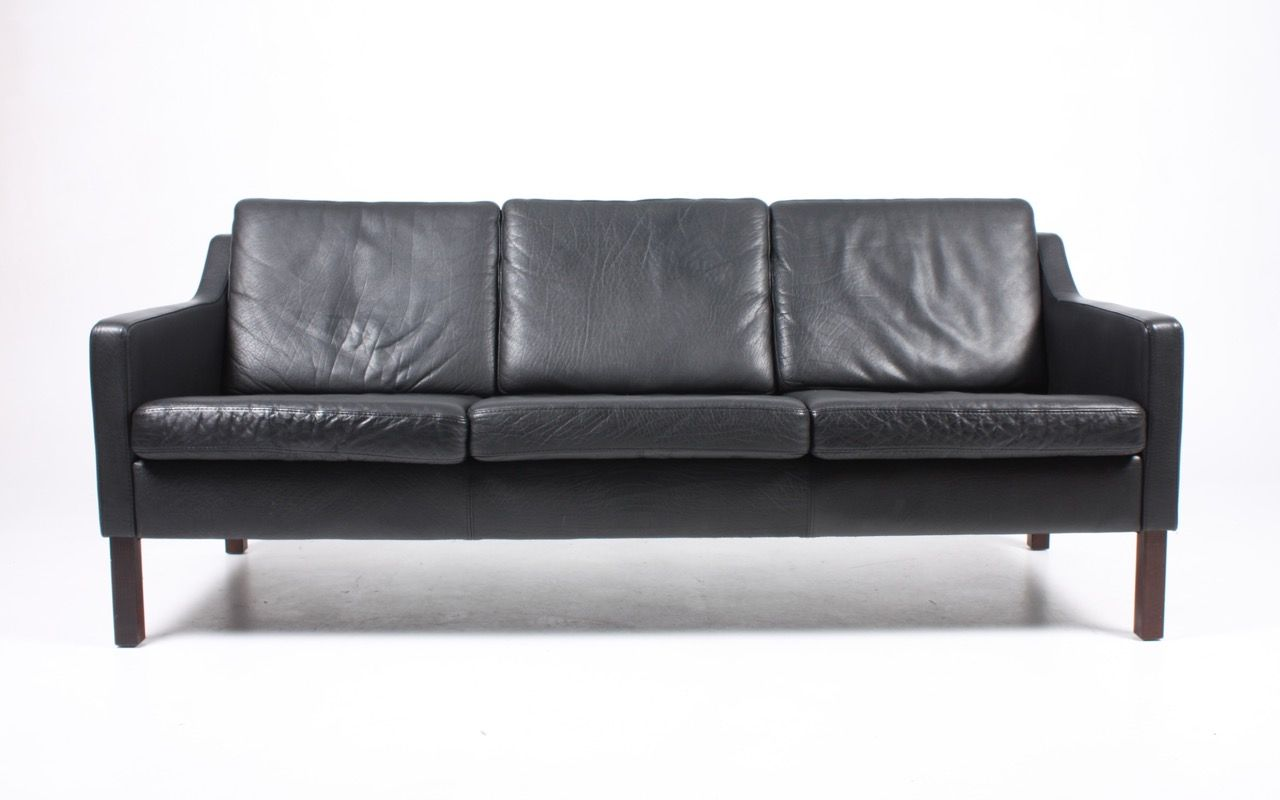 Vintage Danish 3 Seater Black Leather Sofa 1980s For Sale
