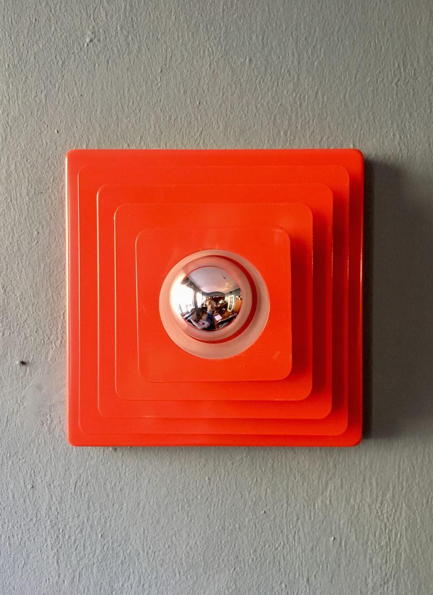 rote deckenlampe aus metall von hustadt 1970er bei pamono kaufen. Black Bedroom Furniture Sets. Home Design Ideas