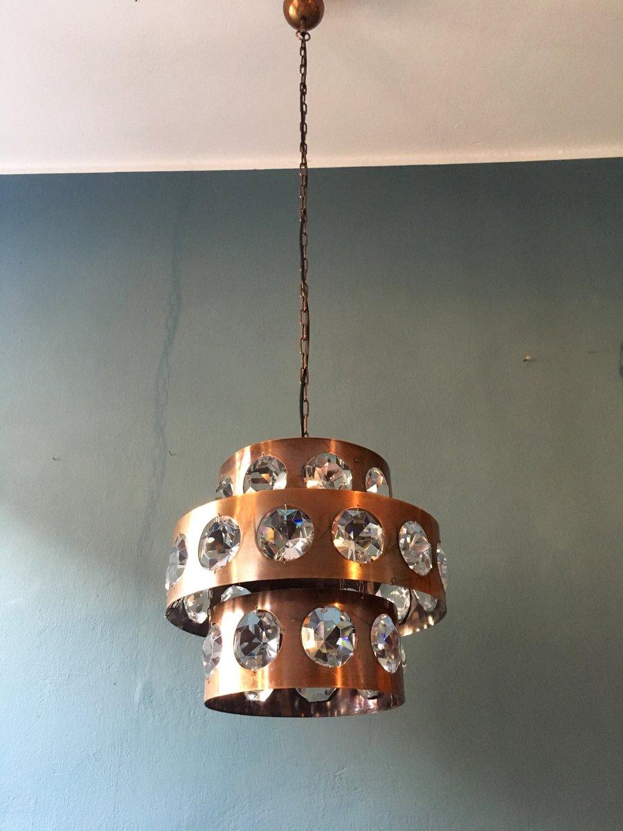 brutalistische lampe aus kupfer kristallglas 1960er bei pamono kaufen. Black Bedroom Furniture Sets. Home Design Ideas