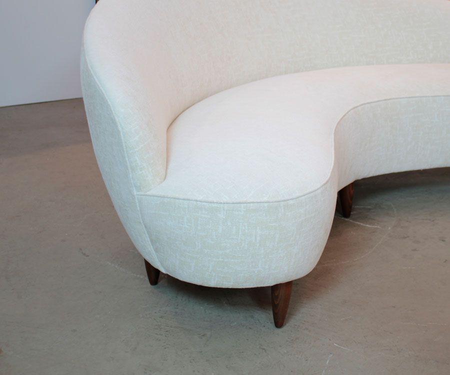 canap courb 1950s en vente sur pamono. Black Bedroom Furniture Sets. Home Design Ideas