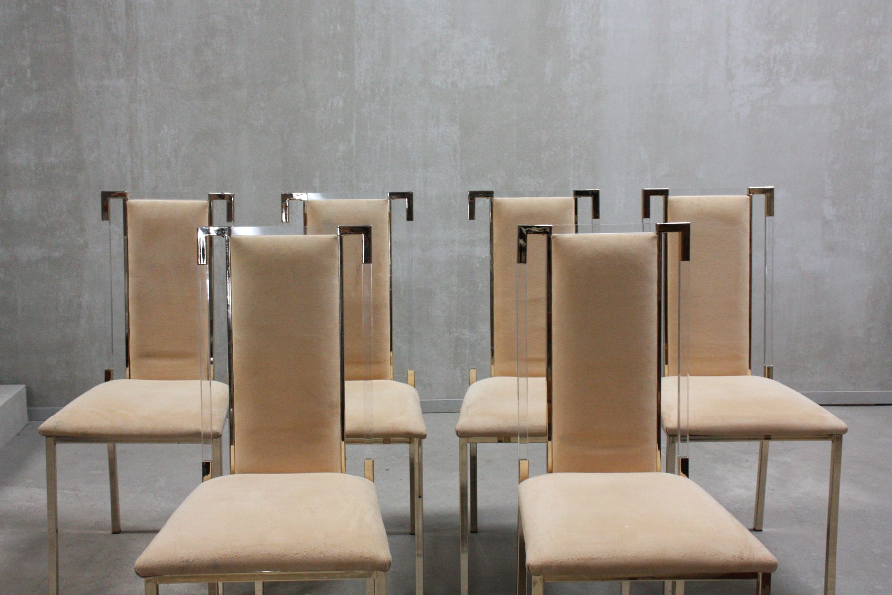 vintage italian lucite dining chairs 1970s set of 6 for sale at