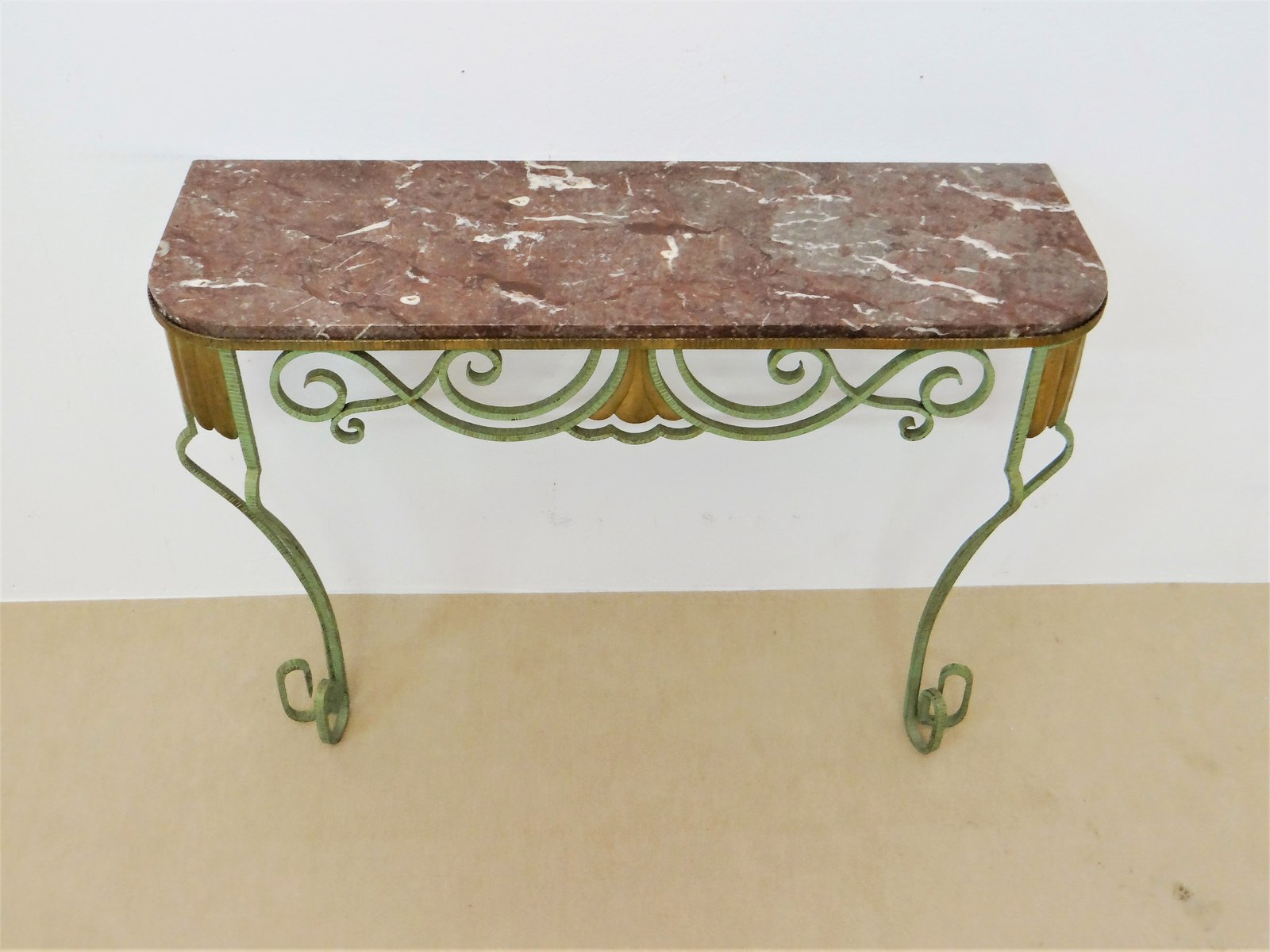 Vintage French Console Table In Brass And Iron