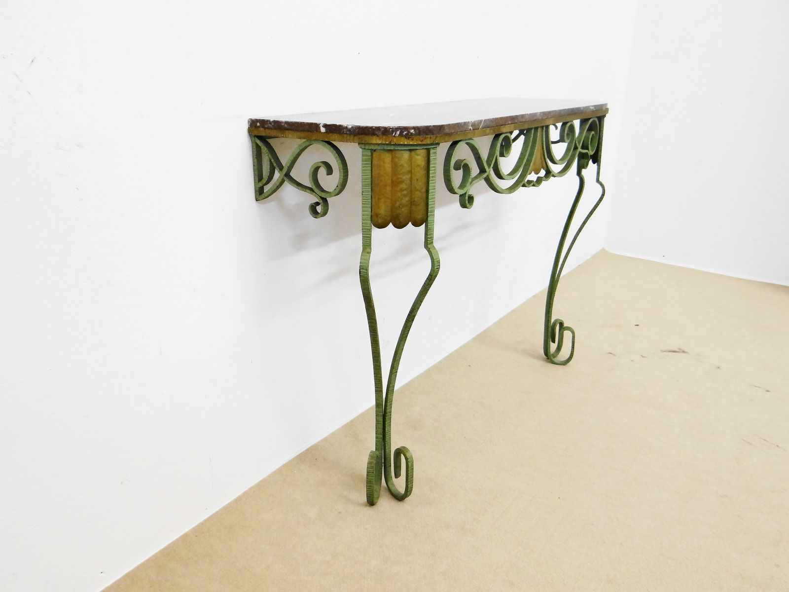 Vintage French Console Table in Brass and Iron for sale at Pamono