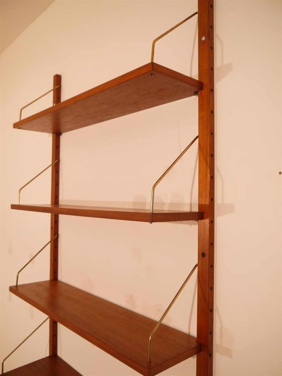 Wall Mounted Modular Teak Shelving System 1960s For Sale