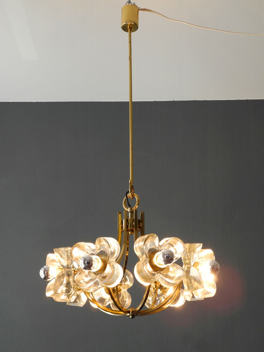 mid century modern brass crystal glass chandelier from. Black Bedroom Furniture Sets. Home Design Ideas