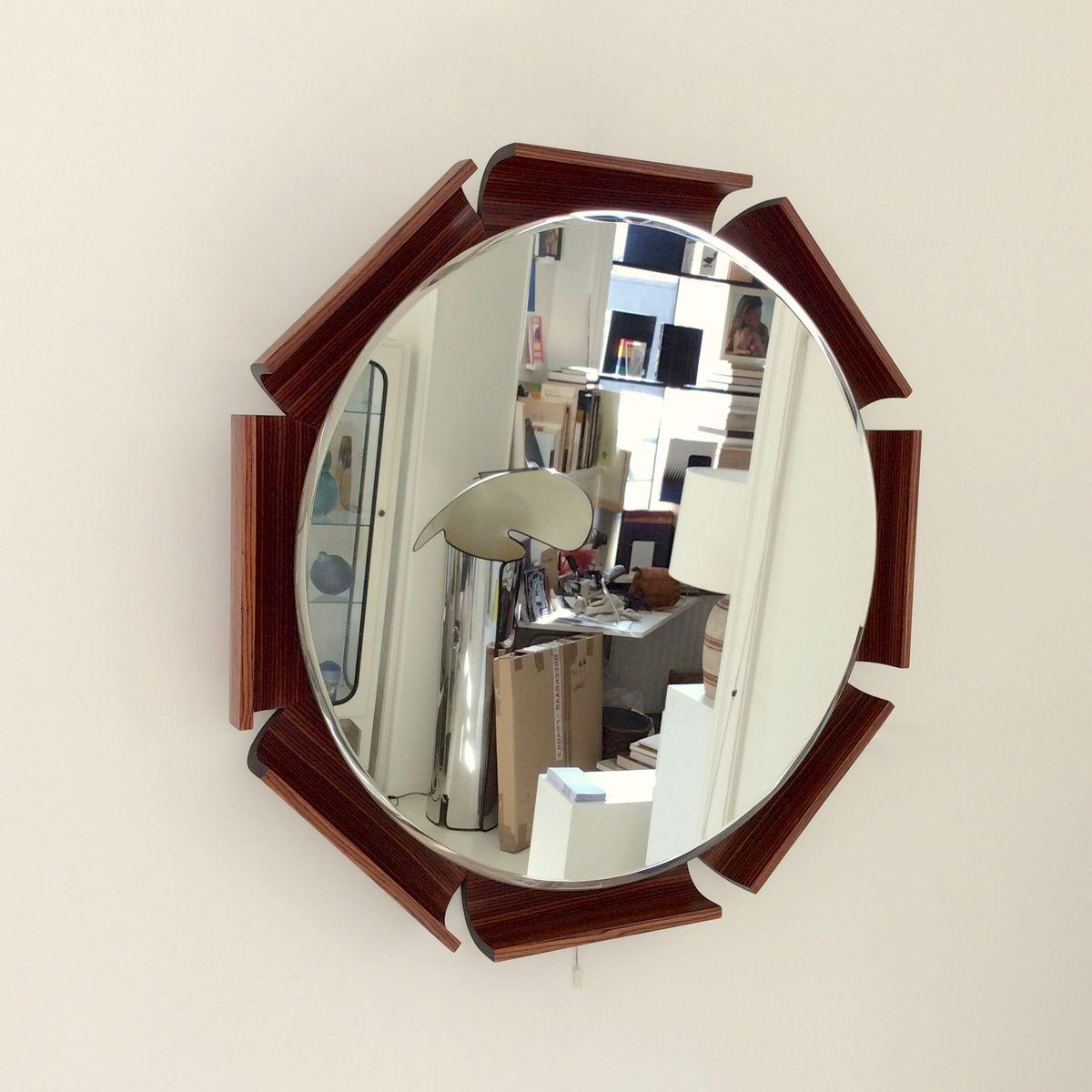 achteckiger beleuchteter spiegel aus palisander 1960er. Black Bedroom Furniture Sets. Home Design Ideas
