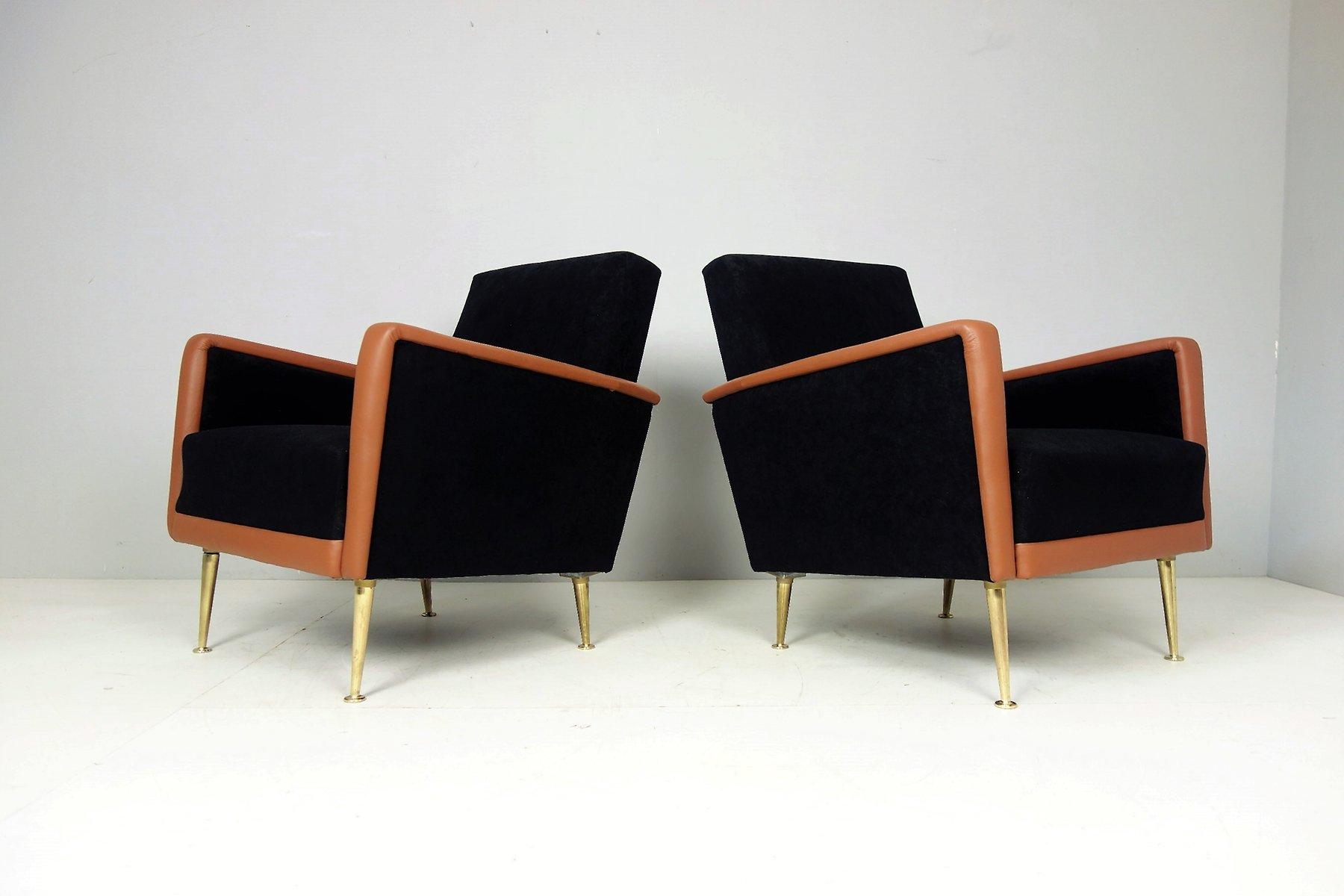 italienische vintage sessel aus leder stoff 2er set bei. Black Bedroom Furniture Sets. Home Design Ideas