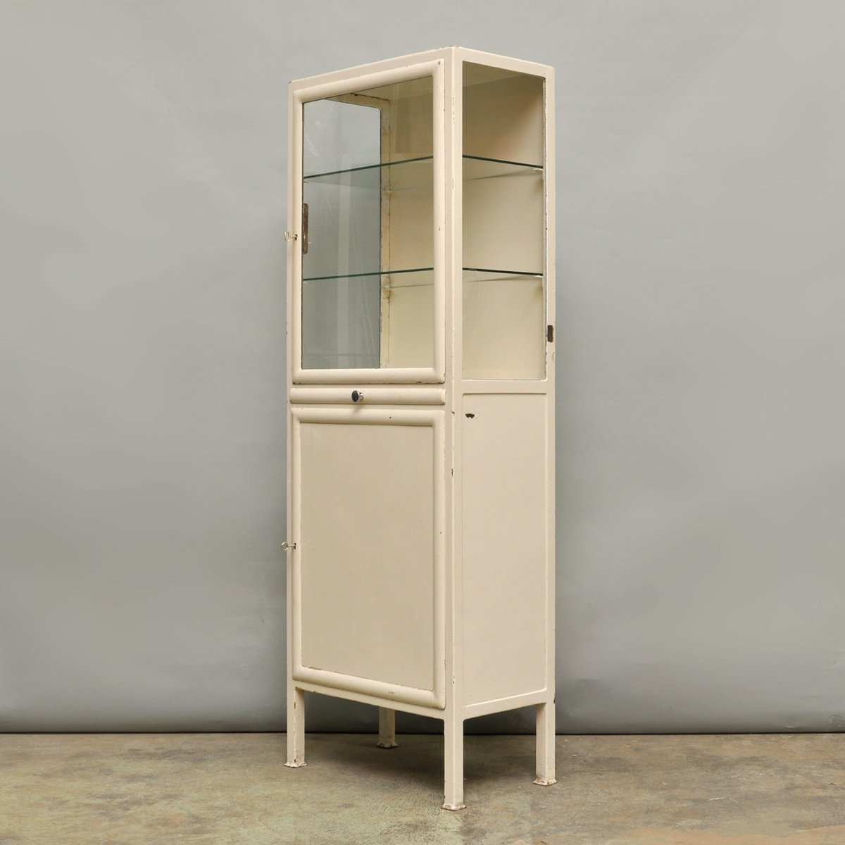 Vintage Medical Cabinet in Iron & Glass, 1940s for sale at Pamono