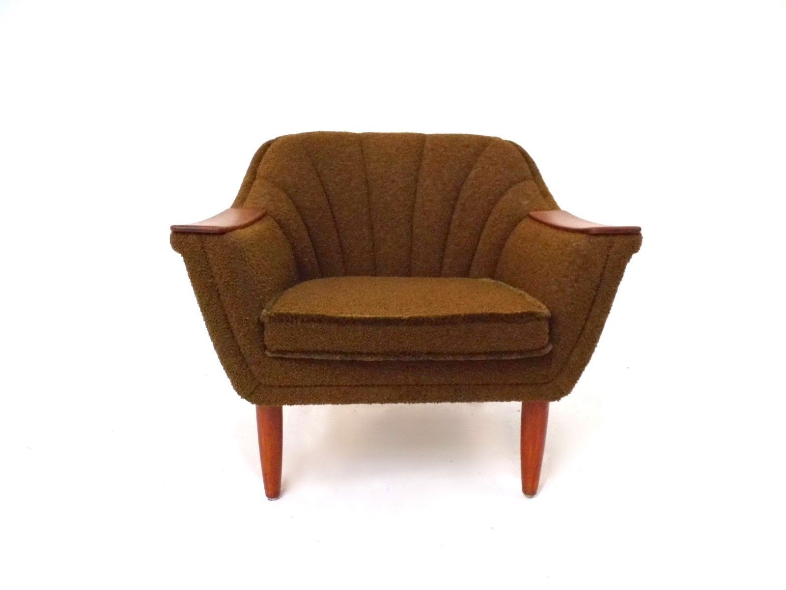 Brown Gold Wool Amp Teak Armchair 1960s For Sale At Pamono