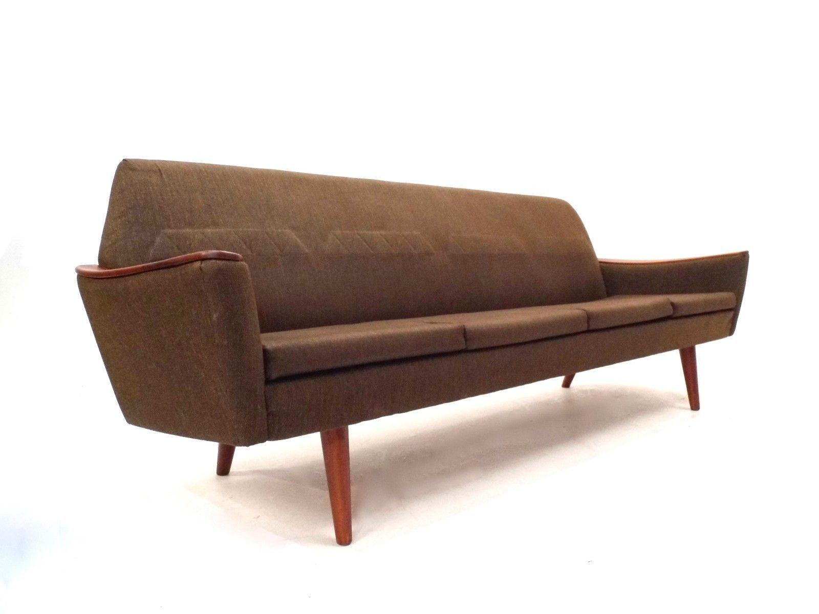 Brown Wool & Teak 4 Seater Sofa 1960s for sale at Pamono