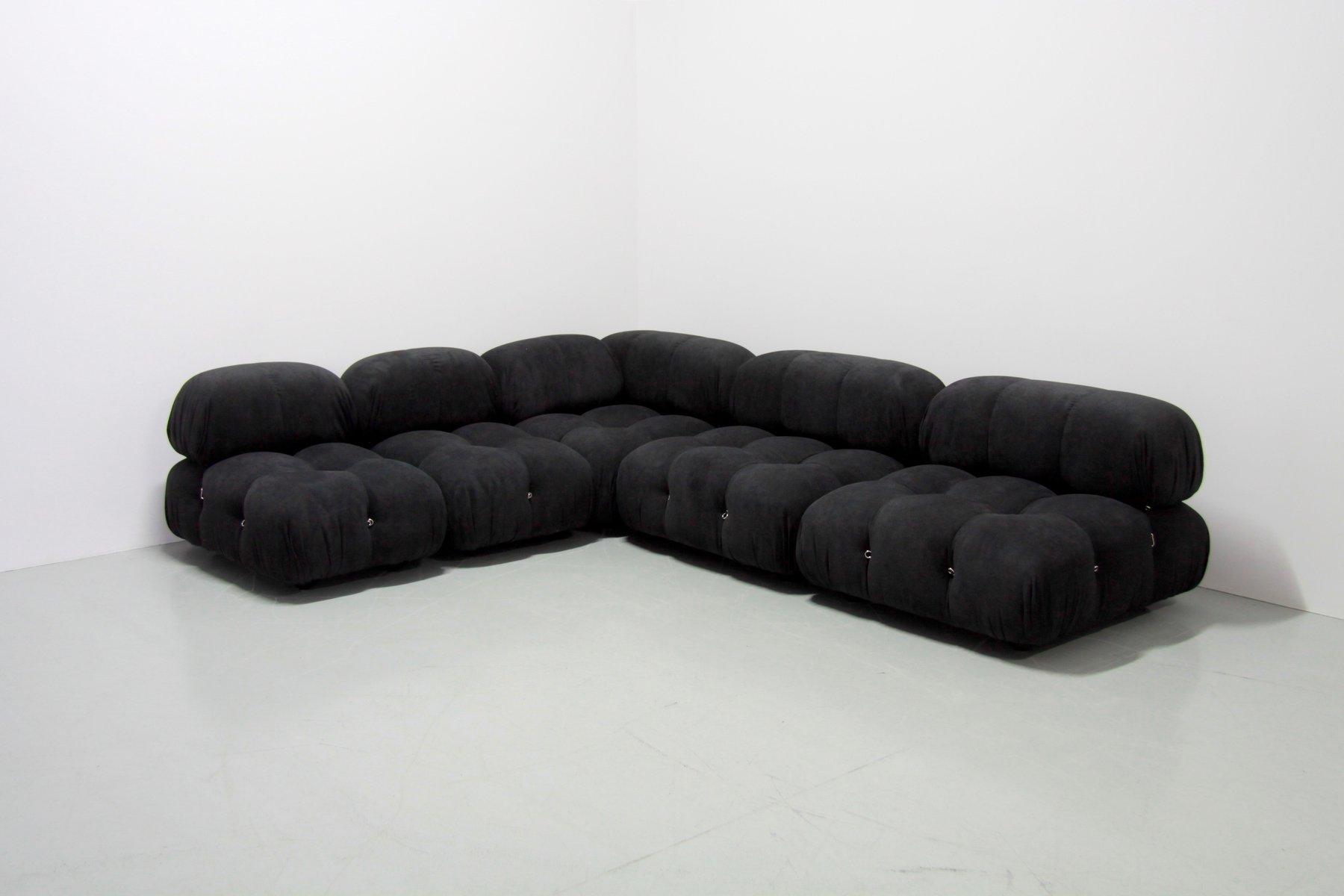 Vintage Black Camaleonda Sofa With 5 Elements By Mario Bellini For C B Italia