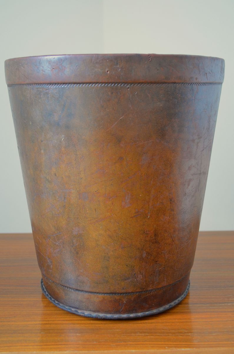 Vintage Leather Waste Paper Basket With Decorative Seam