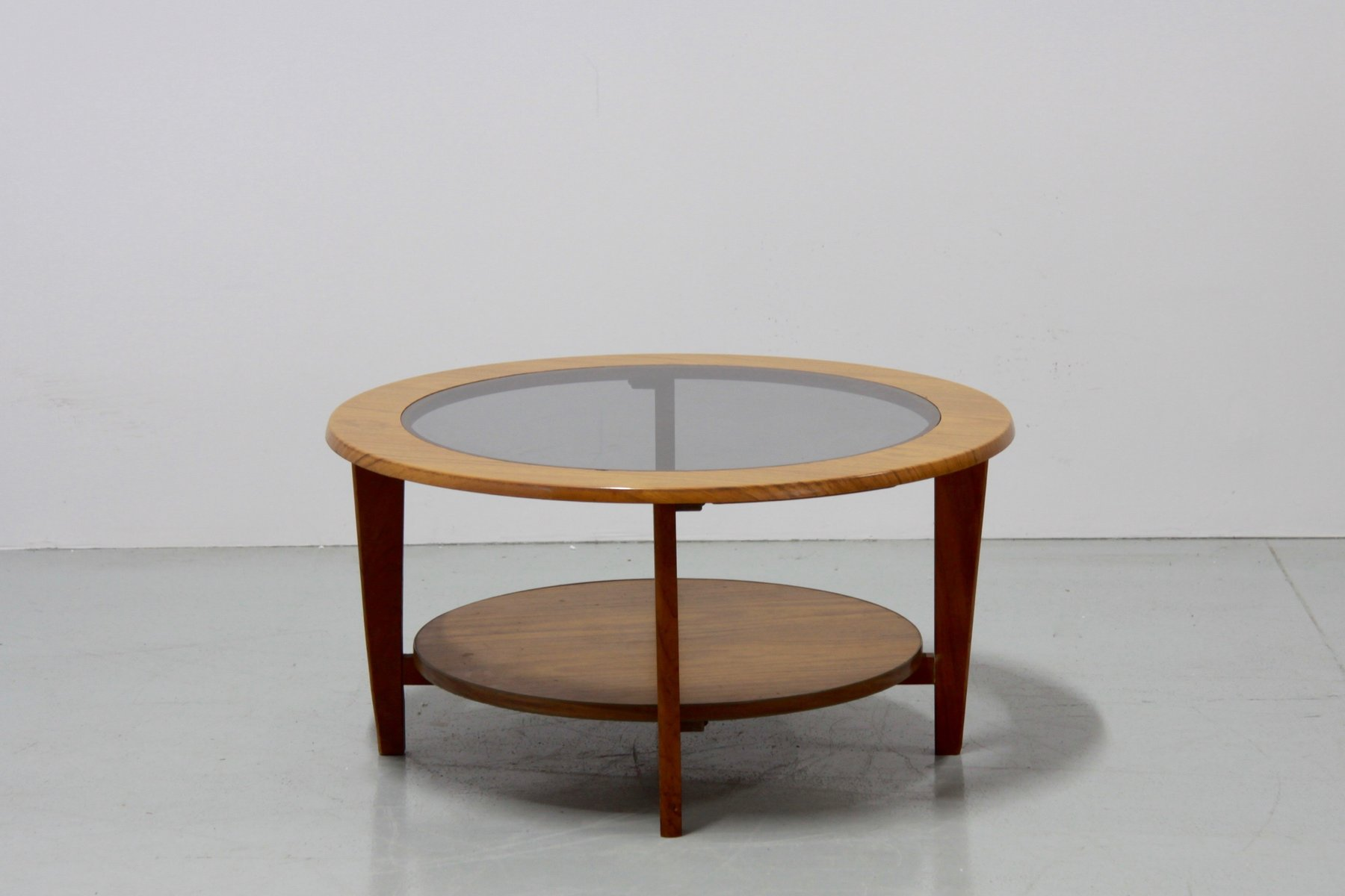 Vintage Danish Round Coffee Table with Glass 1960s for sale at Pamono
