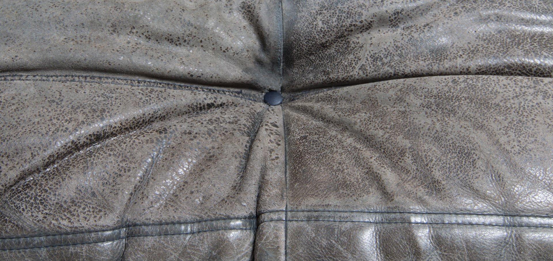 blaues vintage togo ledersofa von michel ducaroy f r ligne. Black Bedroom Furniture Sets. Home Design Ideas
