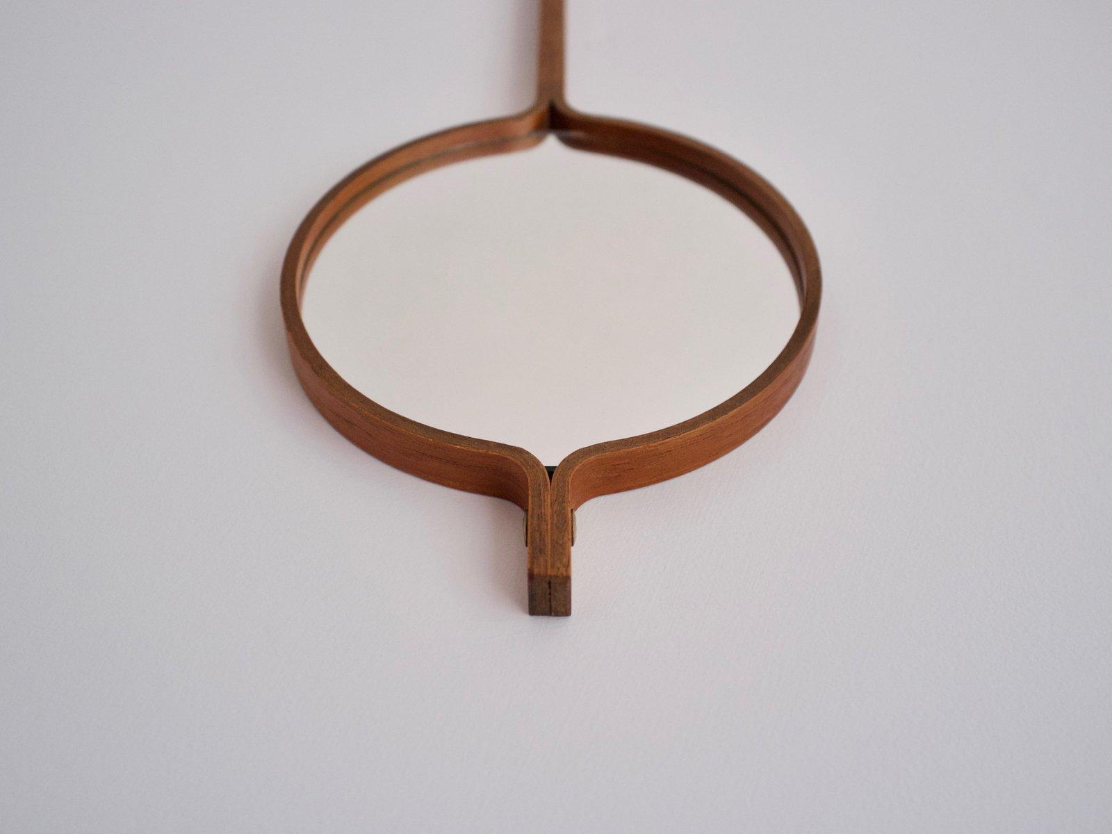 hand spiegel aus teak mit lederband von hans agne jakobsson 1950er bei pamono kaufen. Black Bedroom Furniture Sets. Home Design Ideas