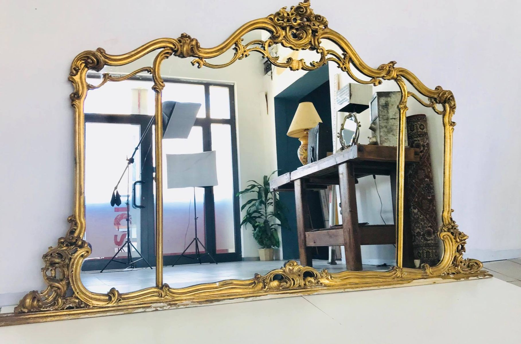 Large vintage gold mirror 1950s for sale at pamono for Big gold mirror