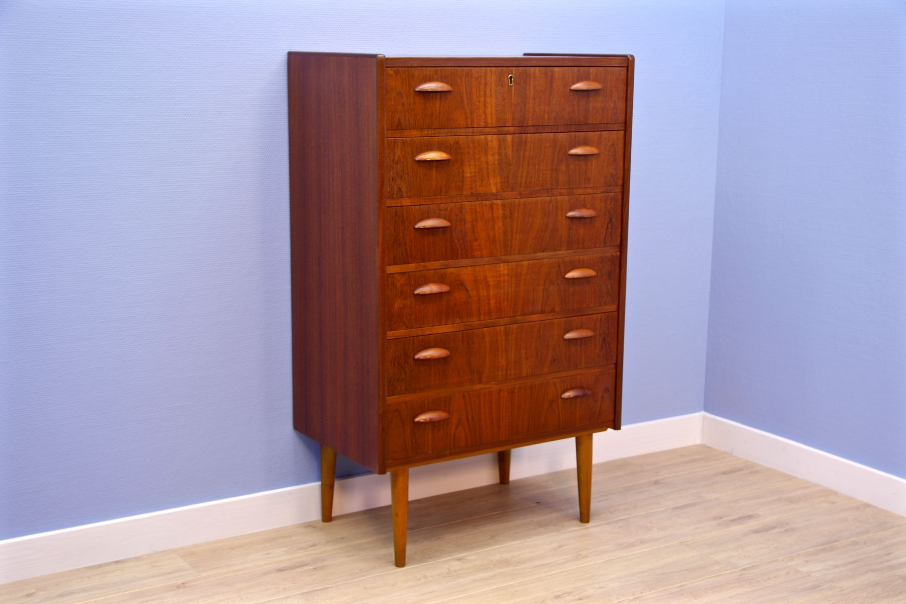 d nische mid century teak furnier kommode 1960er bei pamono kaufen. Black Bedroom Furniture Sets. Home Design Ideas