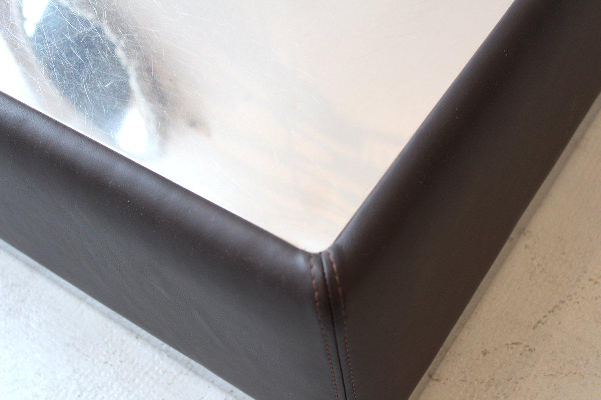 couchtisch aus edelstahl leder 1970er bei pamono kaufen. Black Bedroom Furniture Sets. Home Design Ideas
