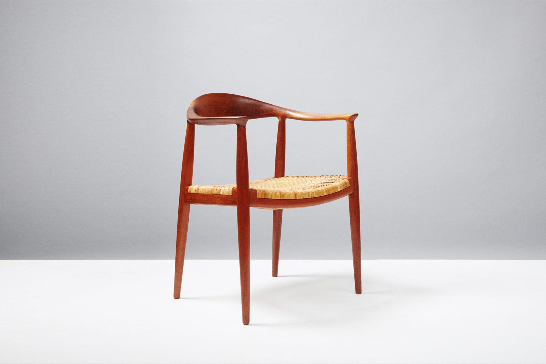 Mid Century JH 501 Teak & Rattan Chair by Hans Wegner for Johannes