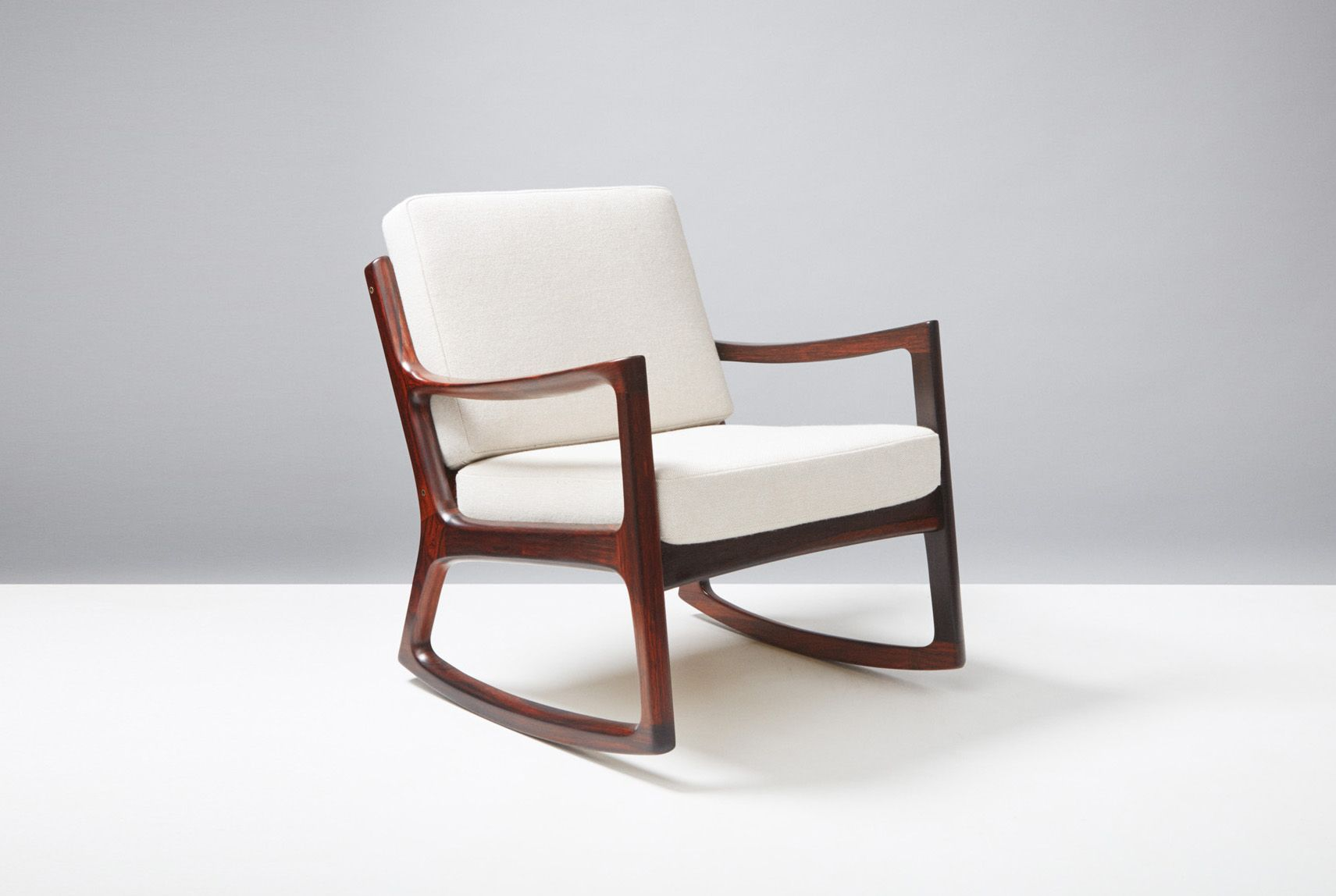 Mid Century Rosewood Senator Rocking Chair by Ole Wanscher for