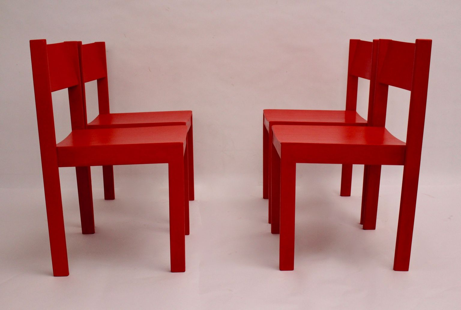 Mid-Century Red Dining Room Chairs by Carl Auböck for E. & A ...