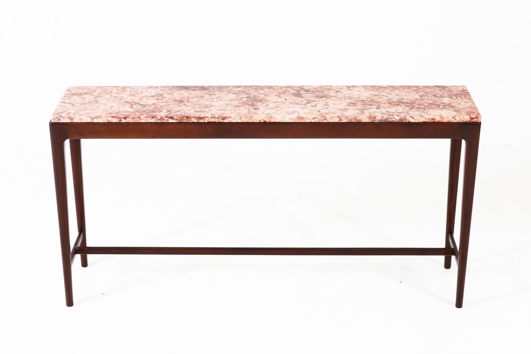 Mid Century Modern Danish Mahogany Console Table with Marble Top