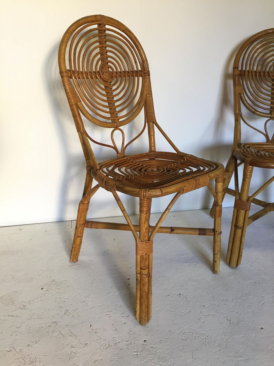 Rattan side chairs 1950s set of 2 for sale at pamono for Side chairs for sale
