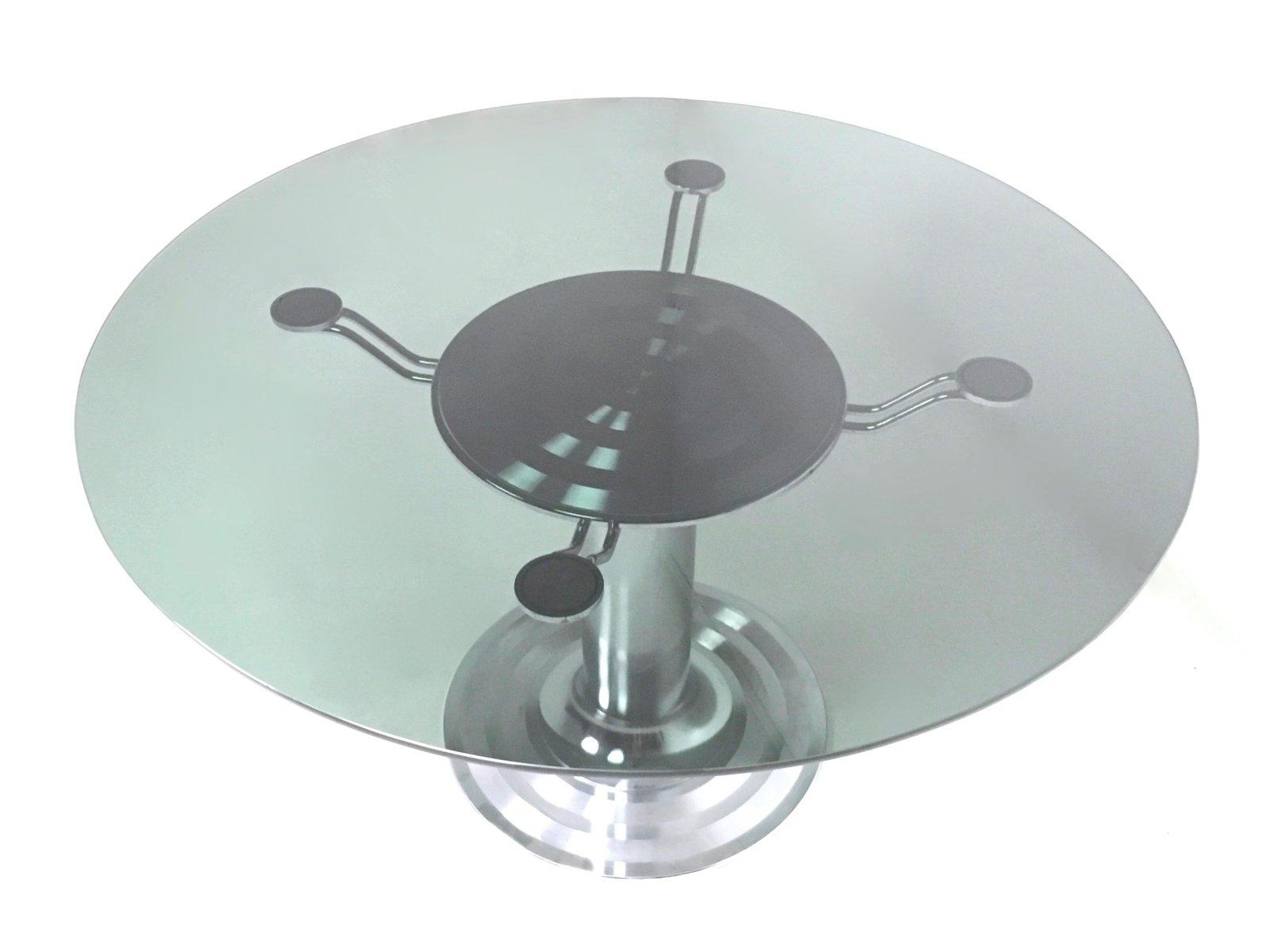 Runder esstisch aus verchromtem metall glas 1970er bei for Runder esstisch glas
