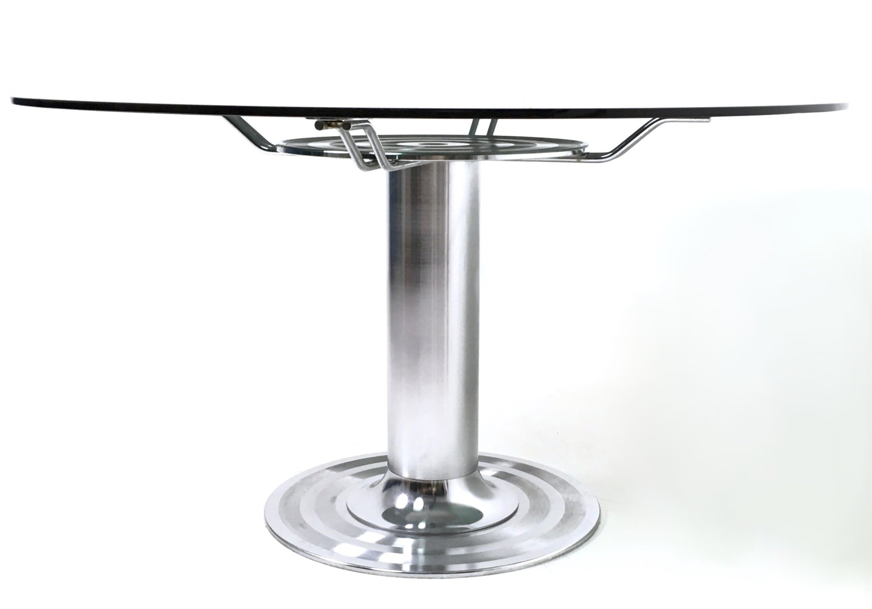 round chromed metal glass dining table 1970s for sale