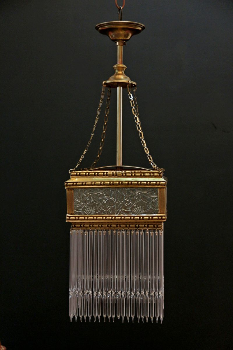 Antique Glass Square Pendant Lamp 1910s For Sale At Pamono