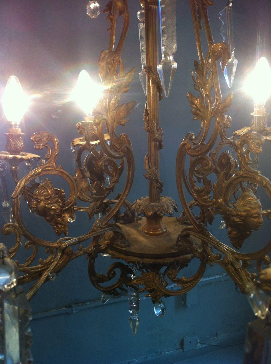 antiker spanischer achtarmiger kronleuchter aus bronze geschliffenem glas bei pamono kaufen. Black Bedroom Furniture Sets. Home Design Ideas