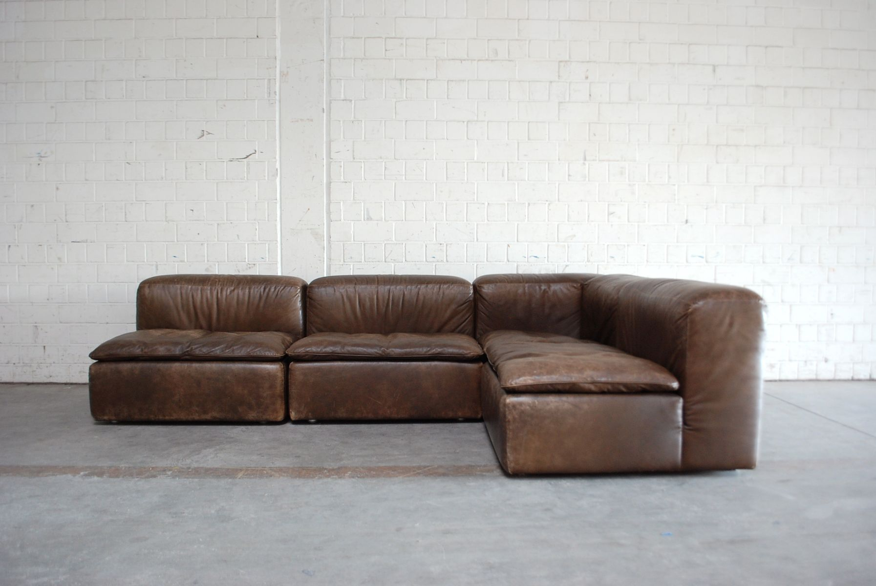 Vintage Modular WK 550 Leather Sofa Set By Ernst Martin Dettinger For WK  Möbel, Set Of 4