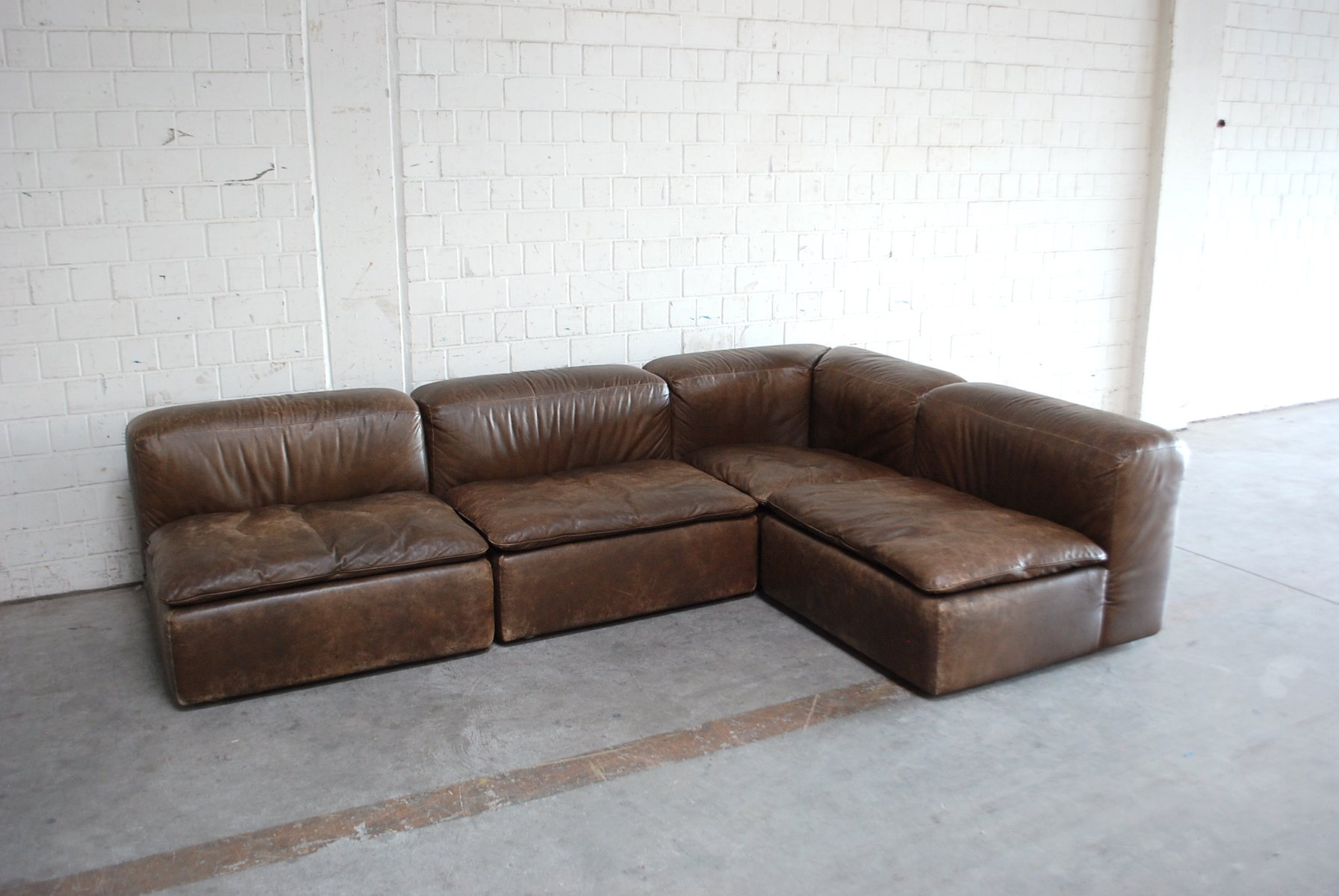 Vintage Modular WK 550 Leather Sofa Set by Ernst Martin Dettinger for WK Möbel Set of 4 for