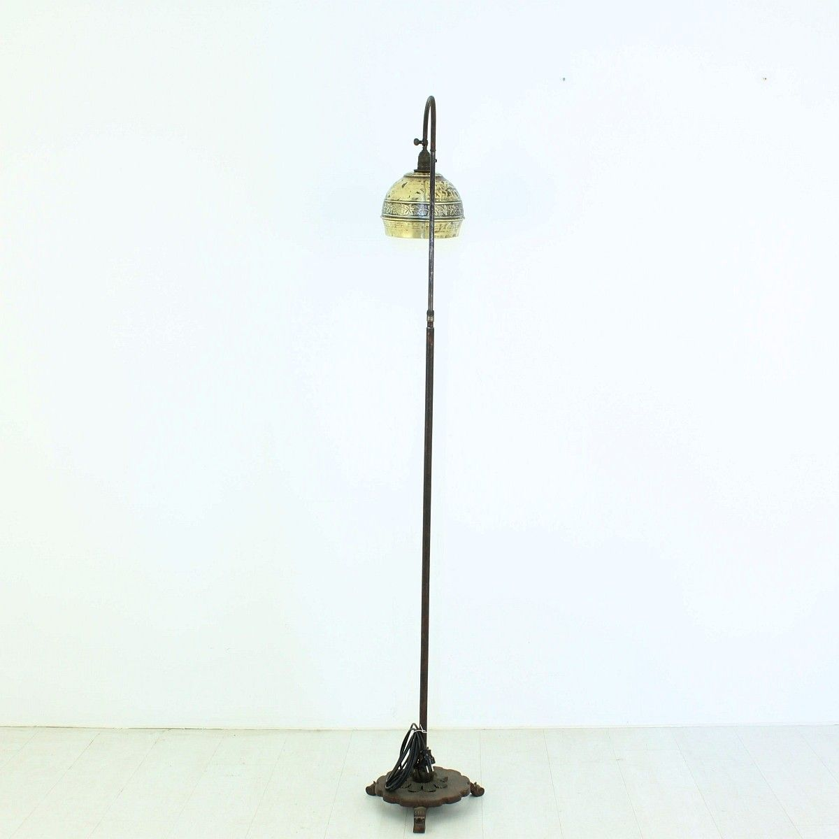 Brass & Iron Floor Lamp, 1920s for sale at Pamono