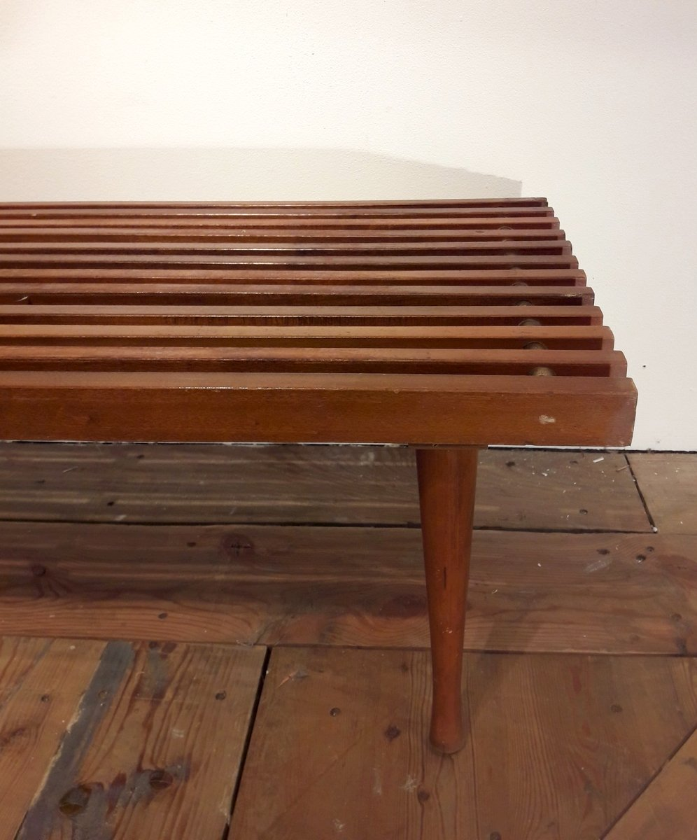 American coffee table in latticed wood and white laminate