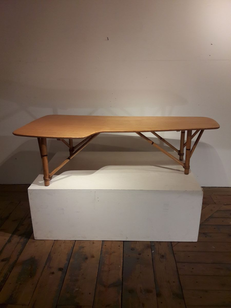 Vintage american boomerang coffee table in wood and bamboo for vintage american boomerang coffee table in wood and bamboo geotapseo Choice Image
