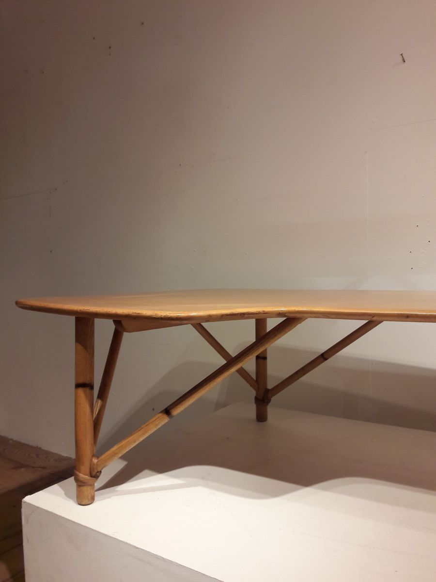 Vintage american boomerang coffee table in wood and bamboo for 85000 geotapseo Choice Image