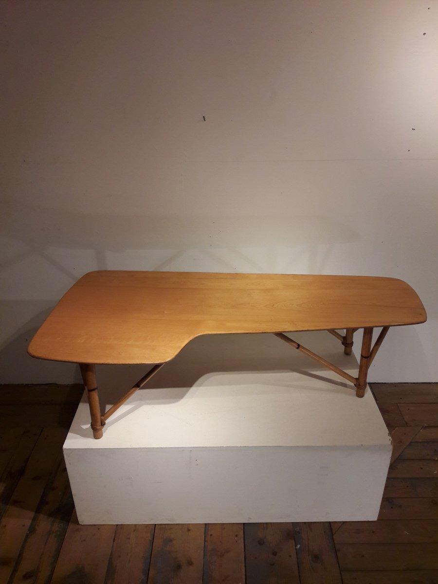 amerikanischer vintage boomerang couchtisch aus holz bambus bei pamono kaufen. Black Bedroom Furniture Sets. Home Design Ideas