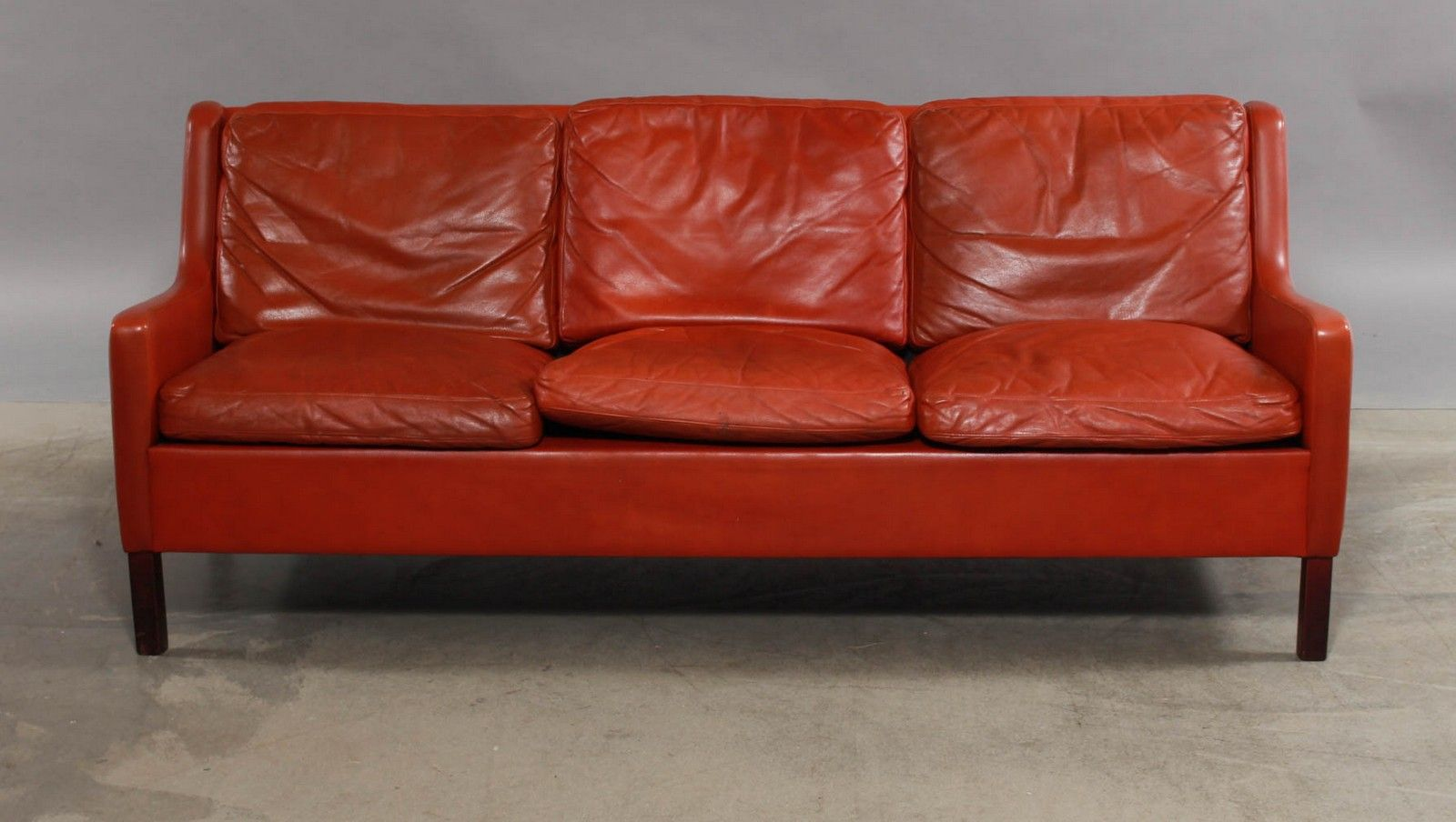 Vintage Scandinavian 3 Seater Red Leather Sofa