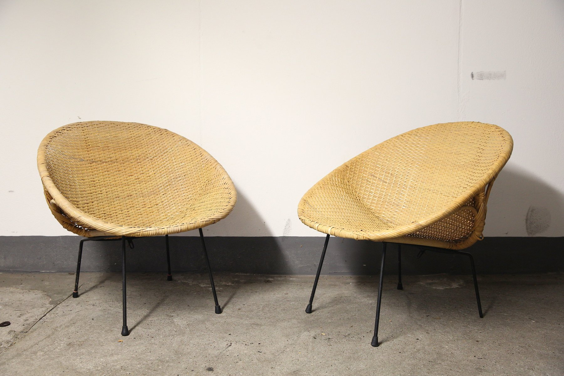 Round Bamboo Basket Chairs 1950s Set of 2 for sale at Pamono